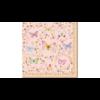 Színes pillangó áradat rózsaszín alapszínű papírszalvétán, arany indák és apró virágok között