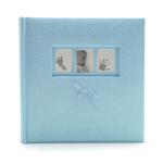 Kép 1/3 - Közepes méretű csillogó kék borítójú fotóalbum, 3 apró képkerettel a borítóján