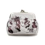 Kép 1/3 - Fekete-fehér mini műbőr pénztárca, zenélő fekete cicákkal