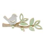 Kép 1/2 - Fa madárkás fali akasztó fehér madárkával, zöld levelekkel