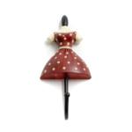 Kép 1/3 - Egyágú akasztó, női alak piros-fehér pöttyös ruhában