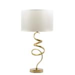Kép 1/2 - Tekeredő réz lámpatest, nagy szövet búrával asztali lámpa
