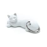 Kép 2/3 - Fehér fekvő cica ezüst farokkal