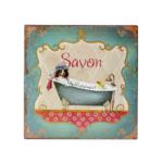 Kép 1/3 - Vékony fémlapból készült fürdőszobai fali tábla, klasszikus fürdőkádban fürdő kutyával