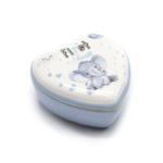 Kép 1/3 - Kicsi porcelán szív alakú tároló az első fogaknak kék szíves elefánt bébivel