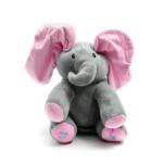 Kép 1/3 - Szürke angolul éneklő plüss elefánt, nagy mozgó rózsaszín fülekkel