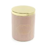 Kép 1/2 - Elegáns gyertya rózsaszín kerámia tartóban, arany fedővel, fűszeres illatban