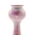Kép 4/4 - Antikolt rózsaszín kerámia gyertyatartó