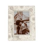 Kép 1/3 - Fém igényesen csipkézett mandala formákkal és kövekkel tűzdelt képkeret, közepes méretű képnek