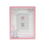 Kép 1/3 - Cuki rózsaszín elefántos képkeret fából, asztalra, falra