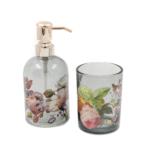 Kép 1/3 - 2 db-os üveg fürdőszoba szett füstös átlátszó üvegből, fehér-rózsaszín rózsákkal