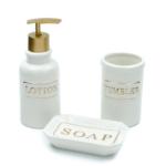 Kép 1/4 - 3 darabos fehér kerámia fürdőszoba szett arany felirattal, díszdobozban