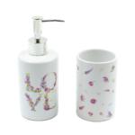 Kép 1/3 - 2 db-os fehér kerámia fürdőszoba szett apró lila virágokkal, LOVE felirattal