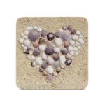 Kép 1/3 - 4 db-os poháralátét szett, kagylóbók kirakott szívek.