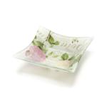 Kép 1/2 - Kicsi üveg kínáló tálka rózsás-pillangós díszítés francia vintage stílusban