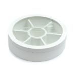 Kép 1/4 - Fehér kerek fa teafilter tartó, 6 rekesszel, átlátszó tetővel