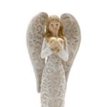 Kép 2/4 - Arany szívet ölelő bézs színű angyal