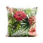 Kép 1/3 - Nagyméretű trópusi díszpárna, zöld pálmalevelek piros virágokkal