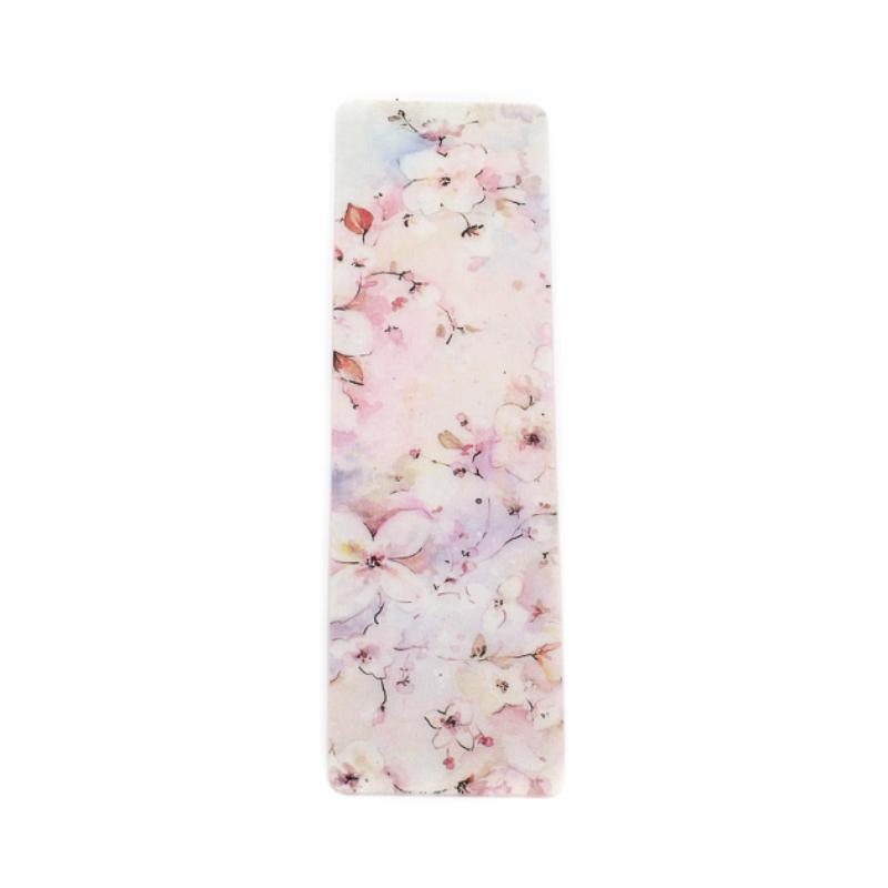 Rózsaszín virágoskert selyem könyvjelző
