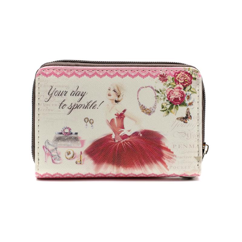 Közepes méretű, körben cipzáras pénztárca, piros ruhás nővel