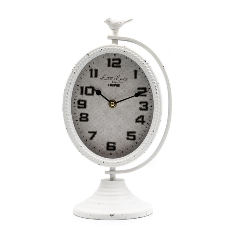 Nagy fehér ovális álló asztali óra fehér madárkával, nagy számlappal