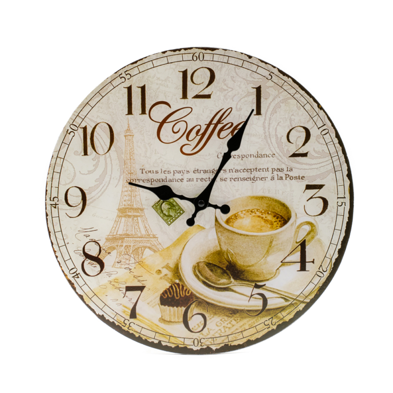 Nagy faliora espresso kaveval, Eiffel-toronnyal, francia felirattal