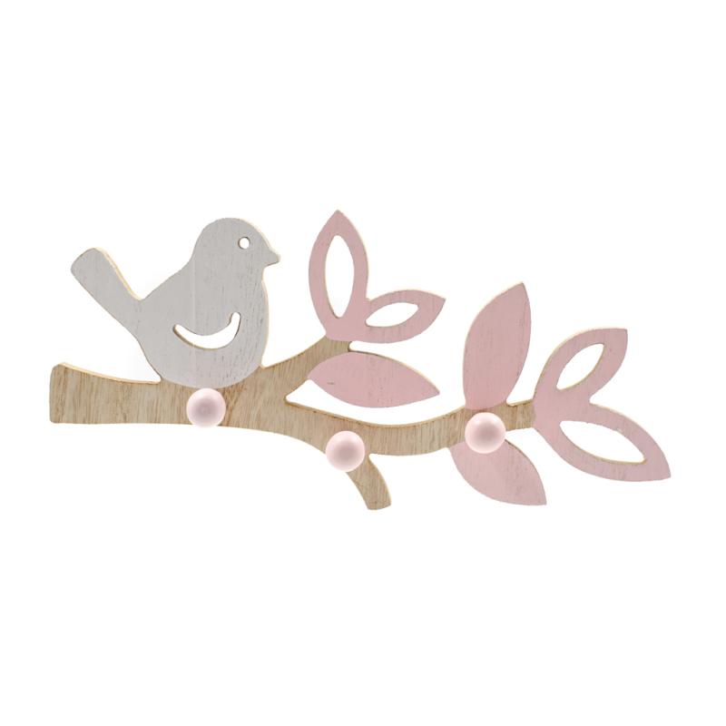 Fa madárkás fali akasztó fehér madárkával, rózsaszín levelekkel