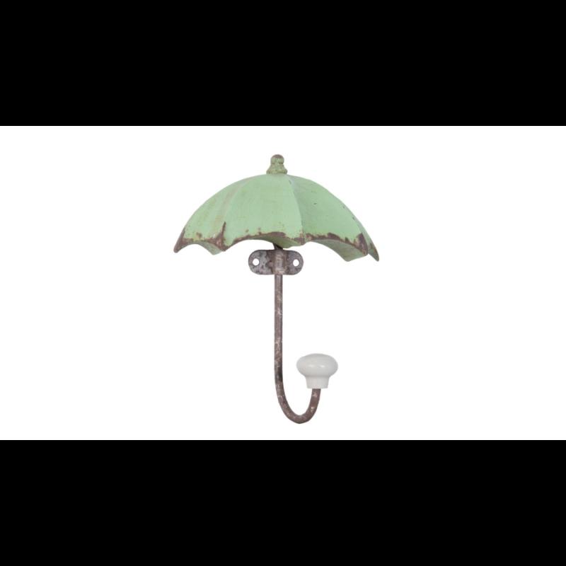 Kisméretű fa esernyő alakú fogas antikolt zöld színben, vas kampóval