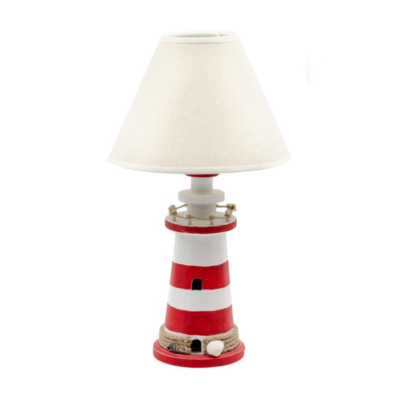 Piros-fehér világító torony asztali lámpa bézs vászon búrával