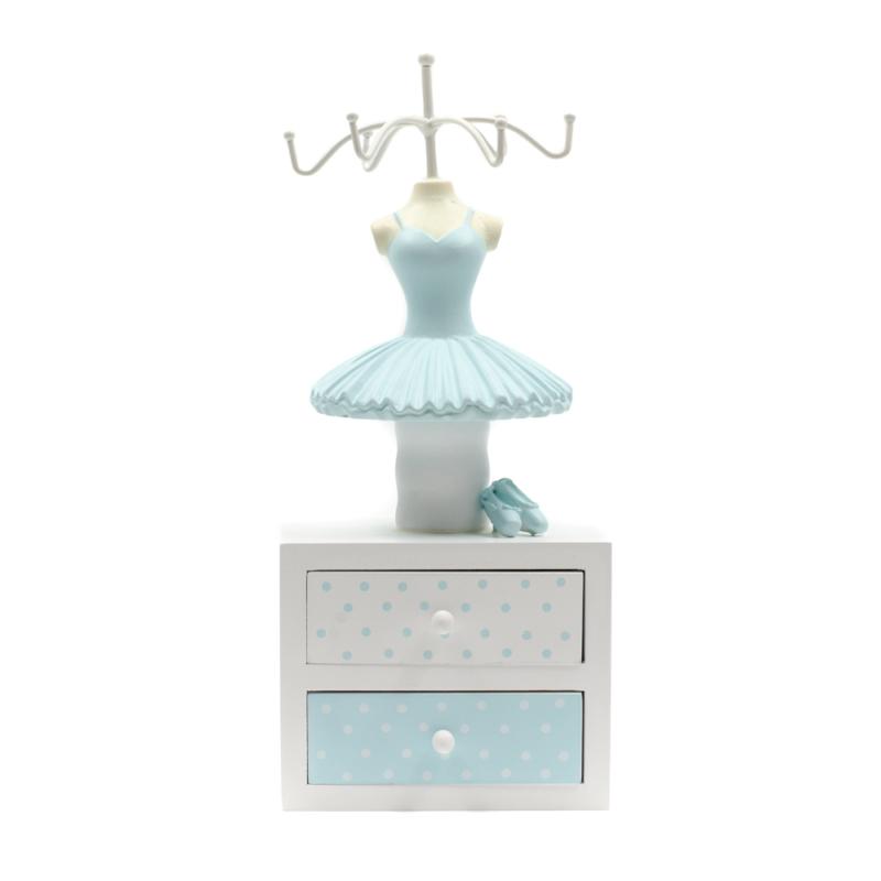 Fa akasztós ékszertartó balerina ruhában, 2 fiókos tárolóval