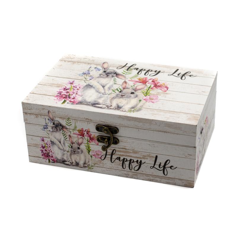 """Nagyméretű """"Happy Life"""" vidám nyuszis fa dísztároló tavaszi virágokkal"""