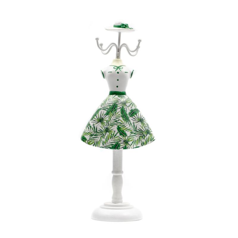 Fa akasztós ékszertartó fehér zöld pálmaleveles ruhában kalappal