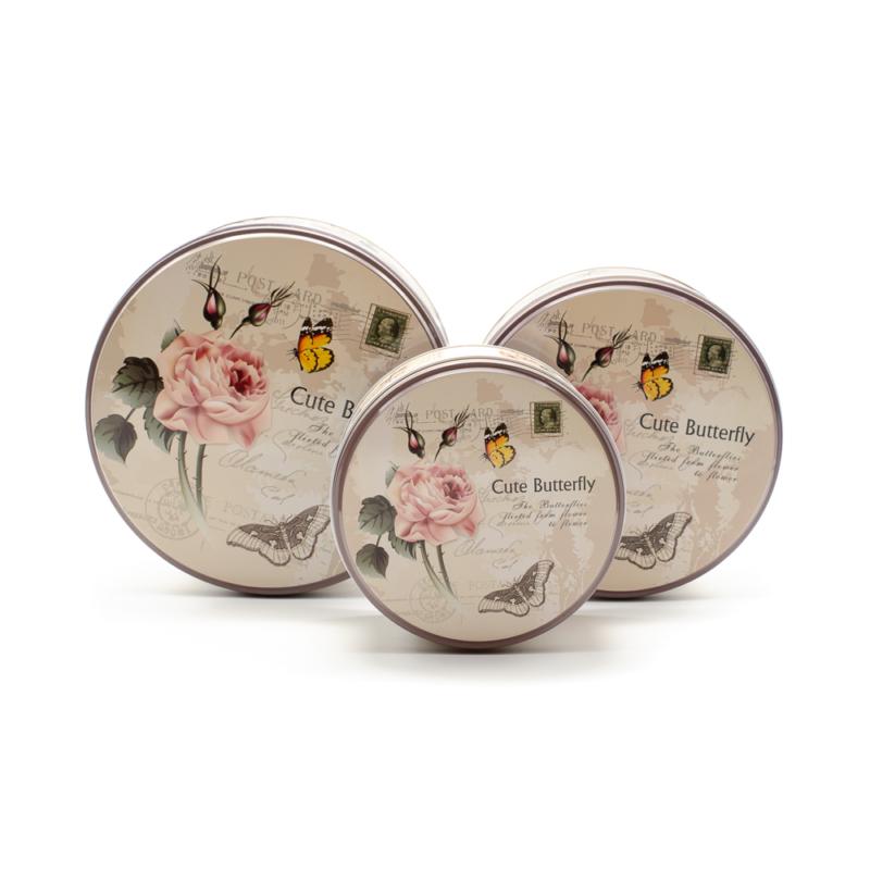 Fém kerek 3 részes díszdoboz szett vintage pillangós stílusban
