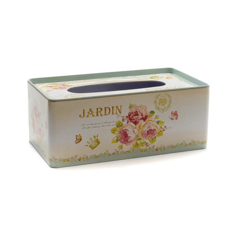 Fém zsebkendőtartó rózsás pillangós Jardin felirattal