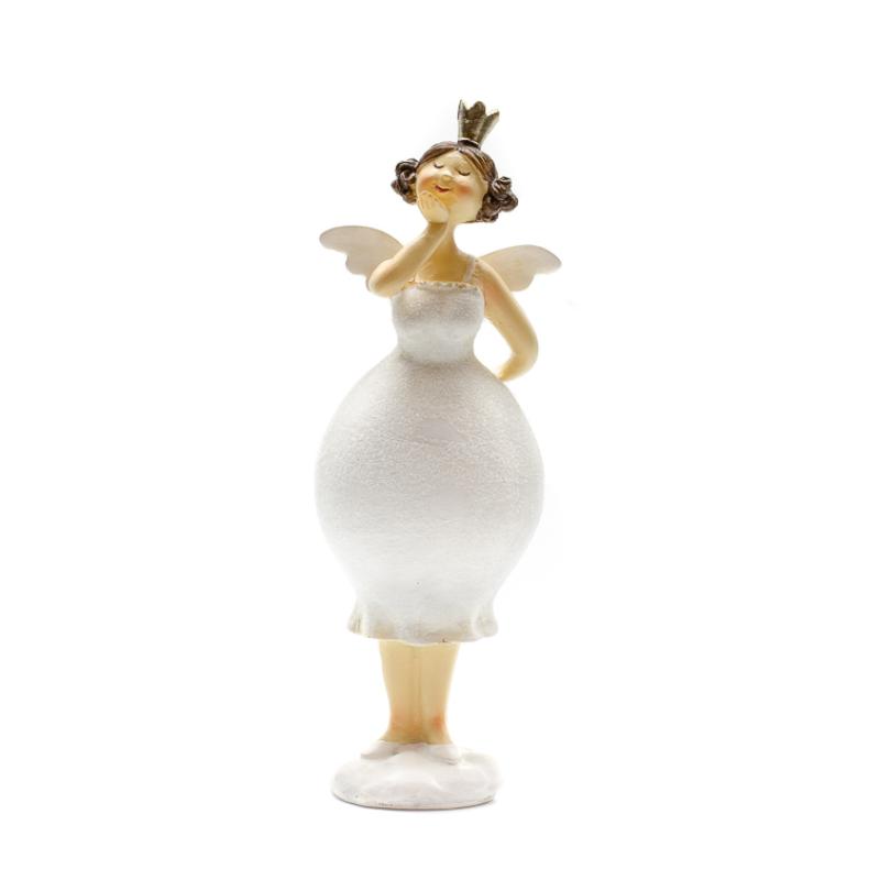 Puszit dobó csillogó fehér ruhás dundi tündér apró szárnyakkal, koronával