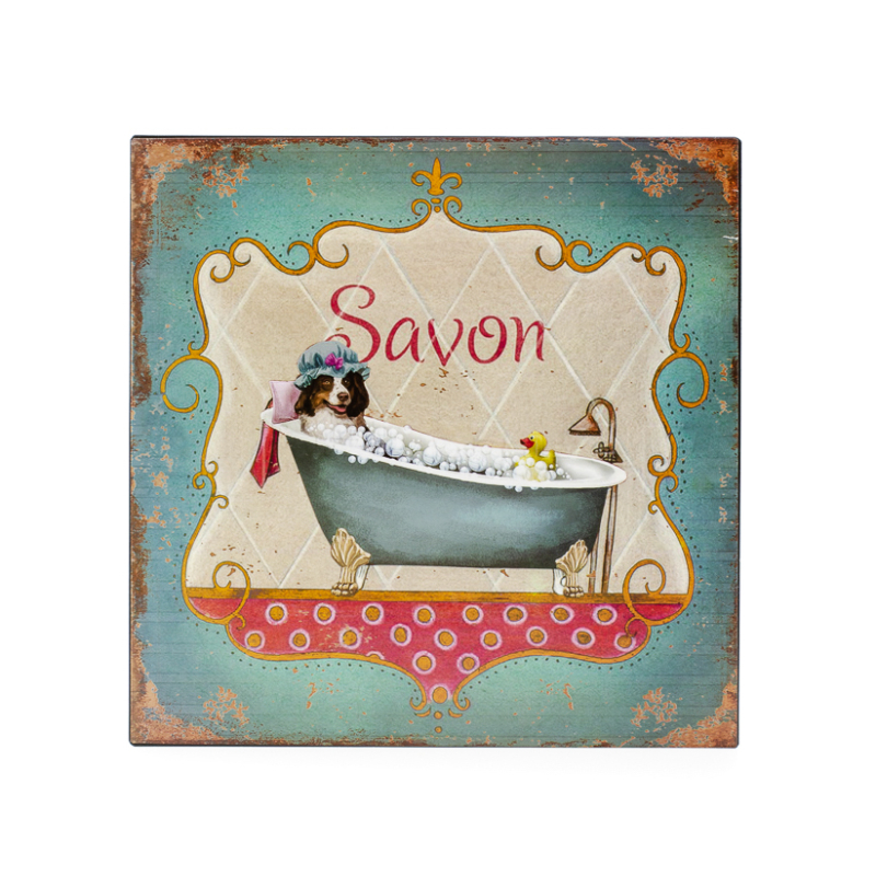 Vékony fémlapból készült fürdőszobai fali tábla, klasszikus fürdőkádban fürdő kutyával