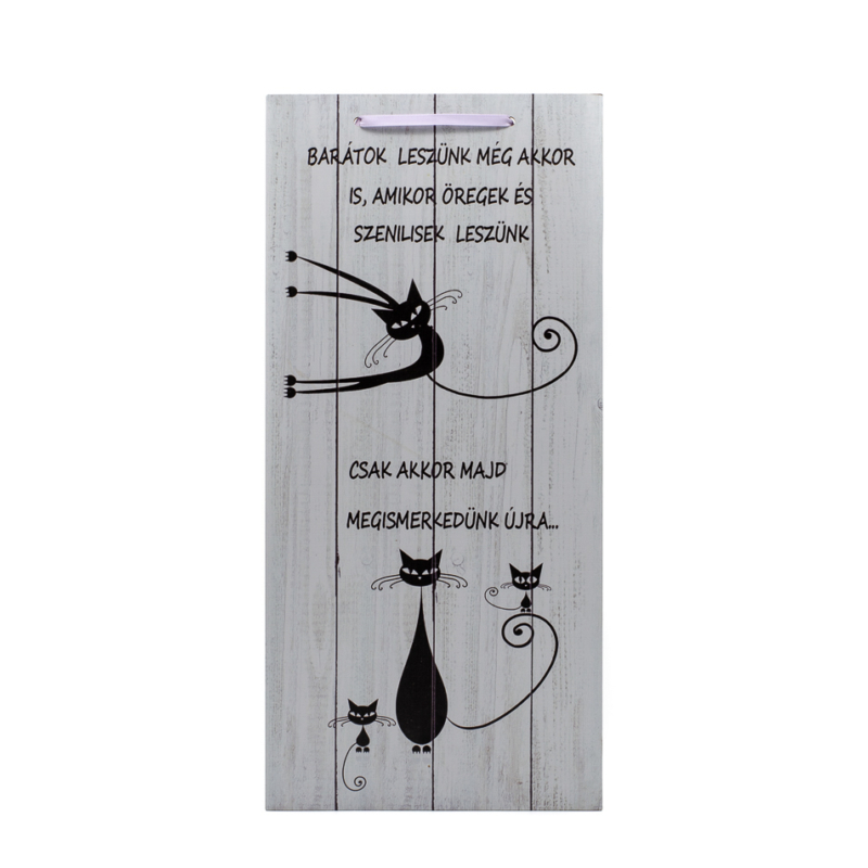 Komoly és vicces fekete cicák falitáblán, vicces felirattal