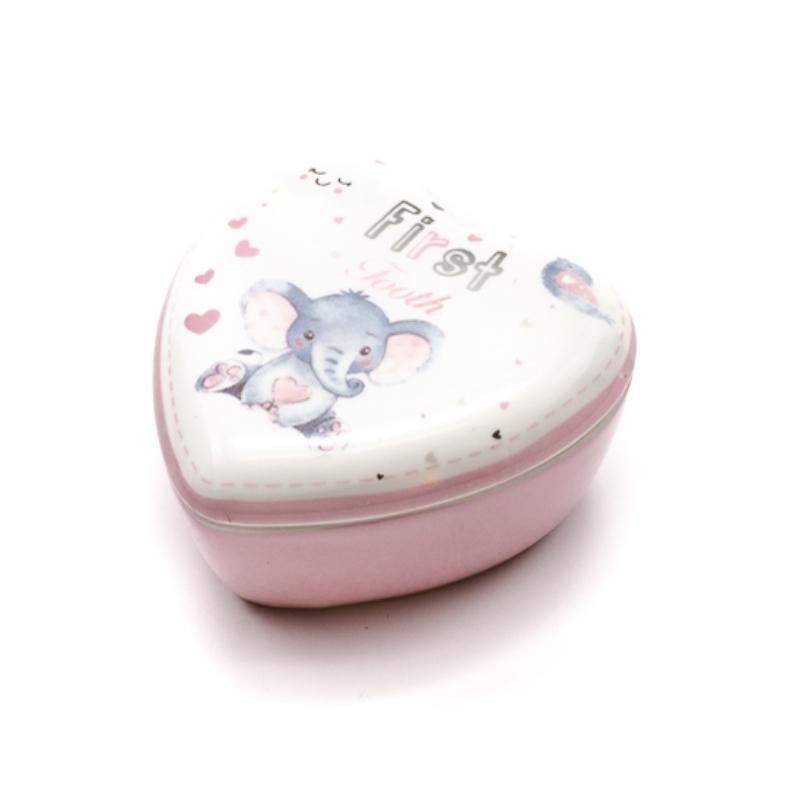 Kicsi porcelán szív alakú tároló az első fogaknak rózsaszín szíves elefánt bébivel