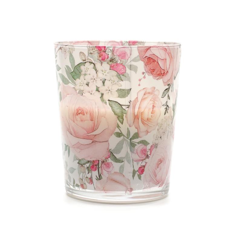 Rózsa illatú gyertya rózsaszín rózsás üvegben