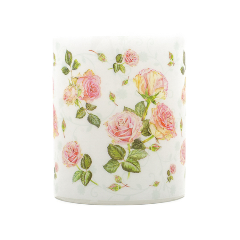 Nagyméretű átvilágítós gyertya rózsaszín rózsafejekkel