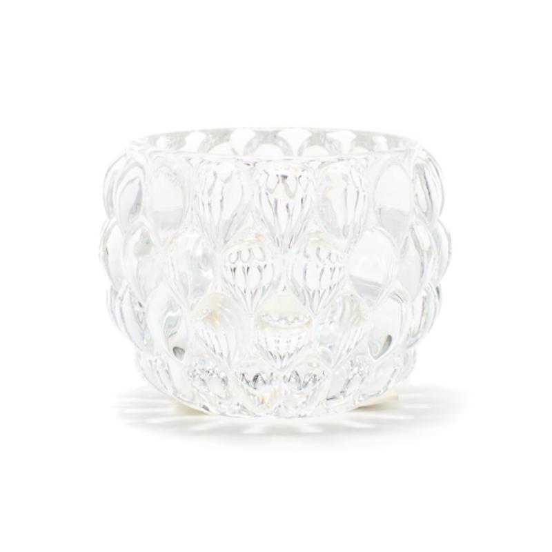Áttetsző üveg mécses- vagy gyertyatartó külsején vízcsepp formákkal