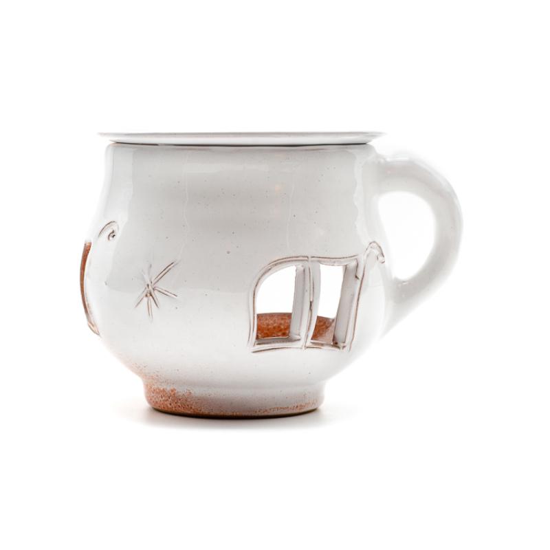 Fehér-barack színű csésze formájú aromalámpa levehető tányérral, oldalán füllel