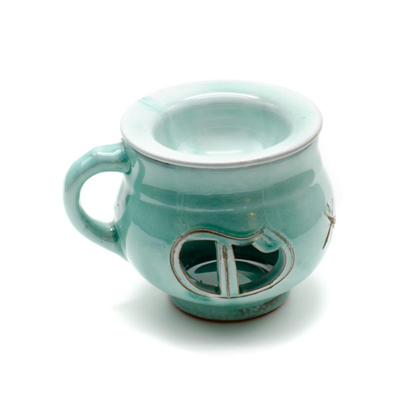 Türkiz színű csésze formájú aromalámpa levehető tányérral, oldalán füllel