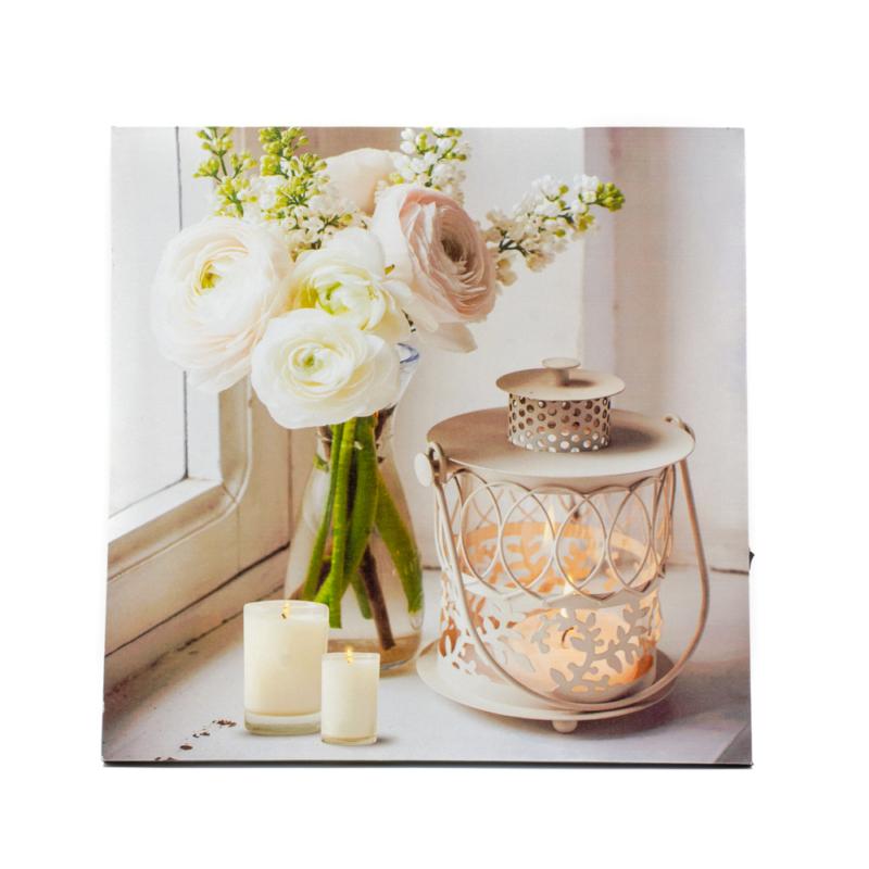 LED-es falikép fehér rózsákkal, mécsesekkel