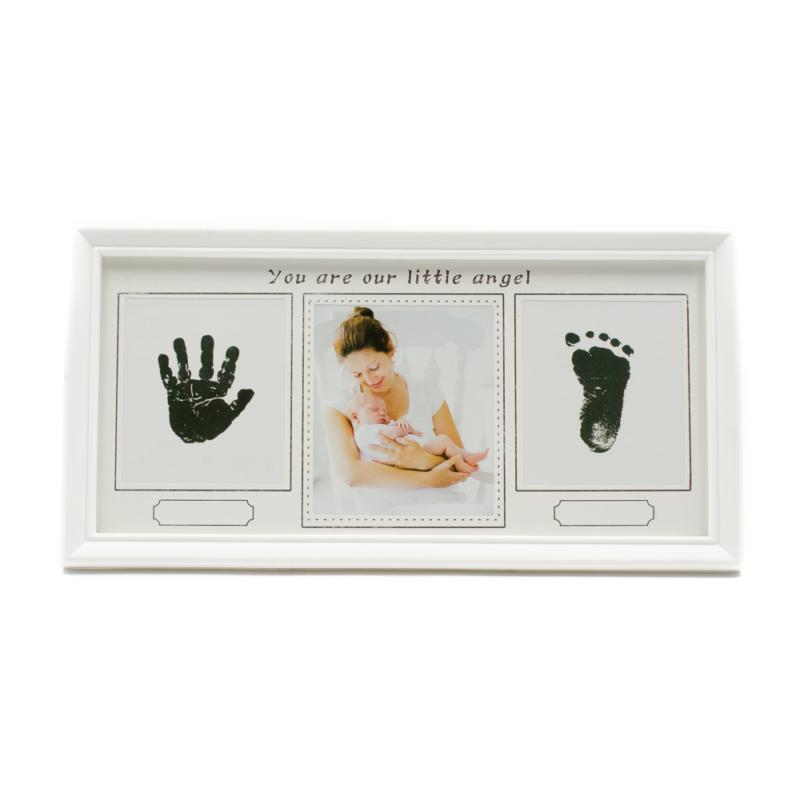 Asztali képkeret 3 db képnek tintatussal baba láb- és kézlenyomat készítésére