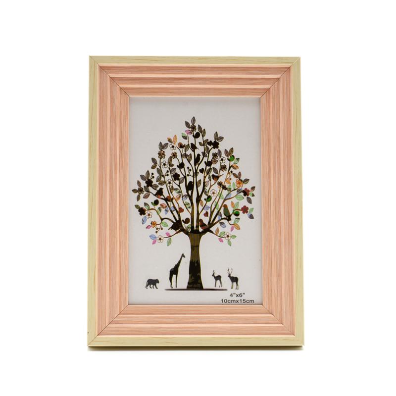 Natúr fa színű, közepes méretű asztali képkeret, egyszerű lépcsőzetes barack színű díszítéssel