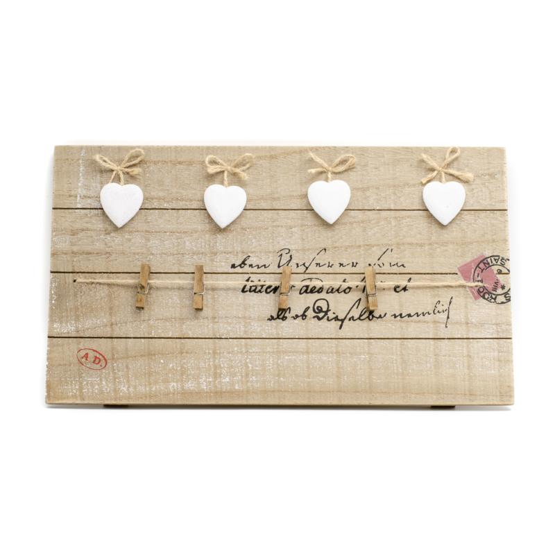 Rusztikus fali fa képkeret 4 fehér kerámia szívvel és 4 csipesszel
