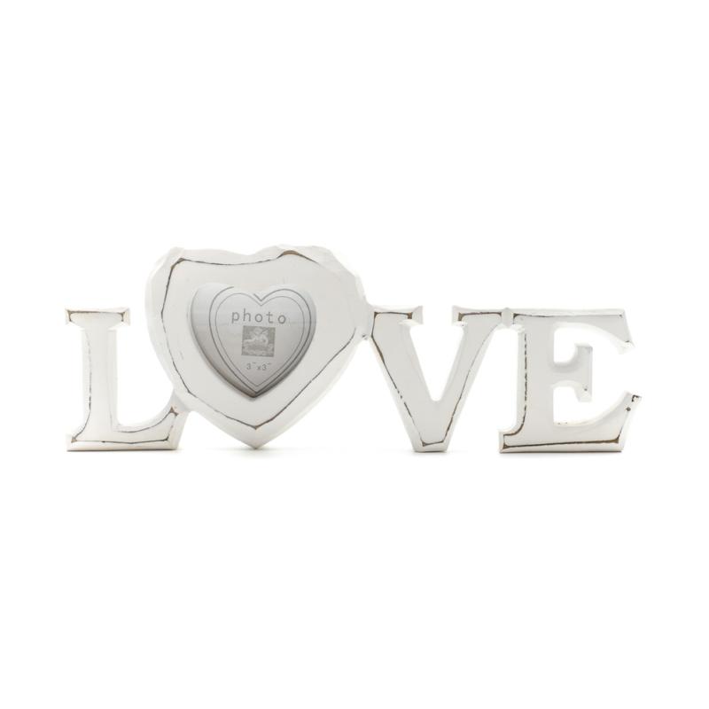 Fehér állítható LOVE felirat, az O betű helyén szív alakú képkerettel