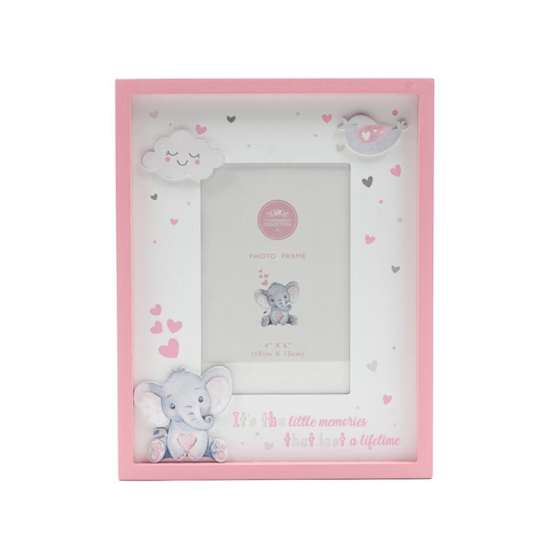 Cuki rózsaszín elefántos képkeret fából, asztalra, falra