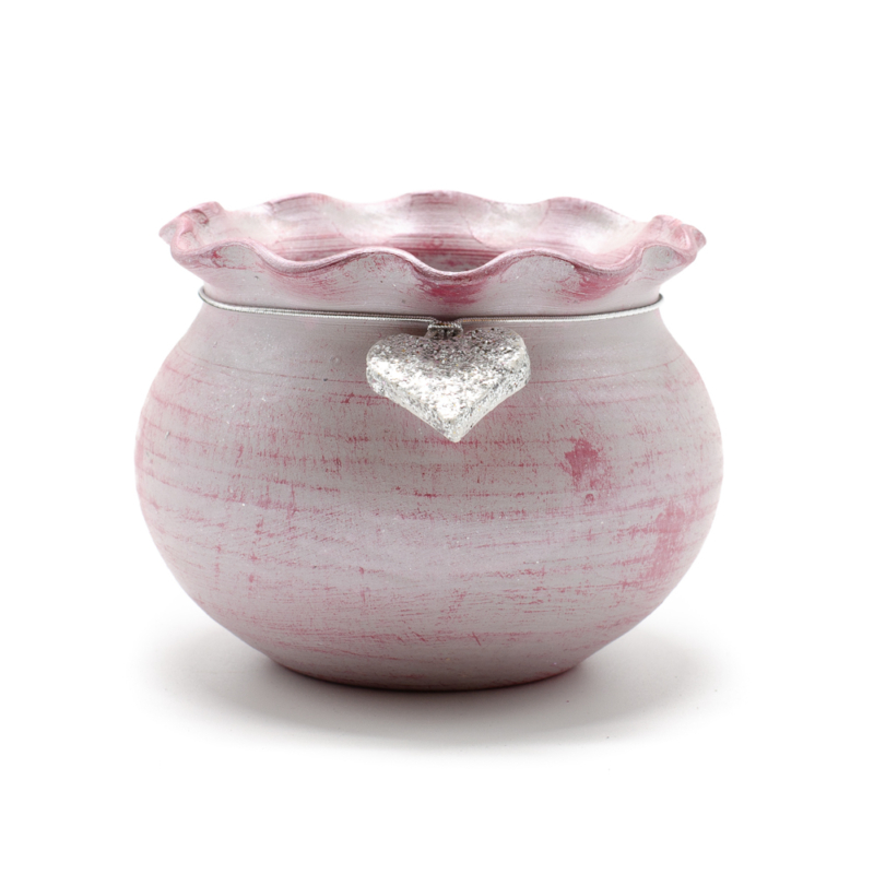 Kézműves kerámia kisméretű kaspó antikolt rózsaszín felülettel, ezüst szívvel a nyaka körül